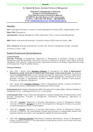 Resume Format For Professor In College Resume Format