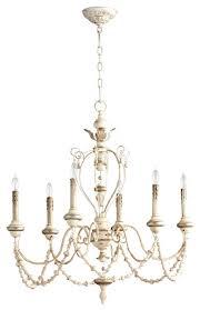 cyan design florine six light chandelier persian white mystic silver