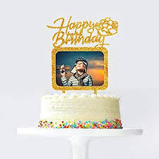 Amazoncom Gold Happy Birthday Cake Topper With Photo Frame