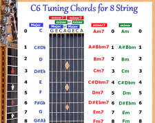 C6th Chord Chart 8 String Lap Steel Guitar Chart Poster C6 Tuning Altern
