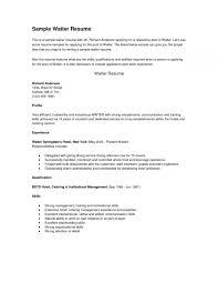 Waiter Resume Examples Nice Server Resume Template Free Career