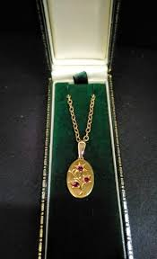 antique 9ct gold ruby pendant chain c 1880 1 of 5