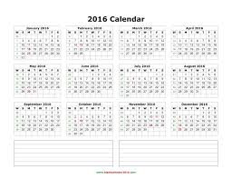 yearly 2016 calendar notes blank landscape blank calendar 2016 on word template weekly schedule