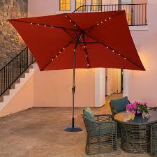 outsunny 6 5x10ft rectangle solar powered tilt patio umbrella aluminum outdoor market parasol with leds crank