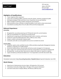 Resume Samples For College Students Accounting Save Functional