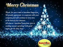A Special Greeting At Christmas From All Sunchine Inspection
