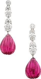 Estate Jewelry:Earrings, Tourmaline, Diamond, <b>White</b> Gold Earrings ...