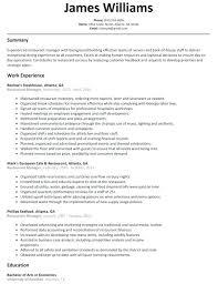 Restaurant manager resume pdf