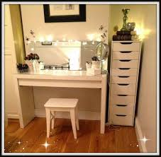 simple white makeup vanity table chair and cabinet with lights and within vanity makeup table set