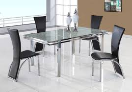Remarkable Set Glass Top Extendable Table Combined Extendable
