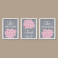 pink gray custom live laugh love colors flower burst petals artwork set of 3 trio prints on lime green bathroom wall decor with pink bathroom wall art my web value
