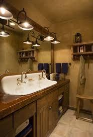 bathtub lighting. Bathroom Vanity Rustic Vessel Sink Plus Wall Mirror Twin Old Lighting Vanities Lights Glass Door Shower Room Free Standing White Porcelain Soaking Bathtub