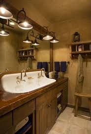 bathroom vanity rustic vessel sink plus wall mirror twin old lighting vanities lights glass door shower