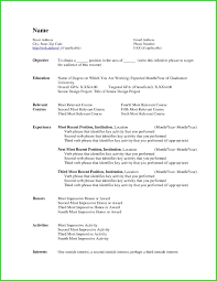 Curriculum Vitae Resume Template For College Student With Little