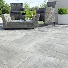 B And Q Kitchen Floor Tiles Weathered Grey Wetherdale Single Paving Slab L300mm W450mm
