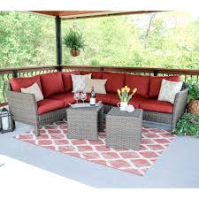 outdoor sectional home depot. Leisure Made Canton 6-Piece Wicker Outdoor Sectional Set With Red Cushions Home Depot L