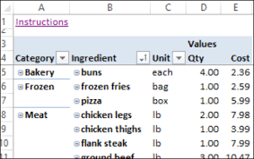 Shopping Spreadsheet Excel Weekly Meal Planner