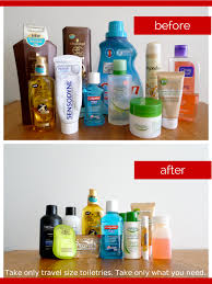 how to pack liquid toiletries travel size toiletries before and after