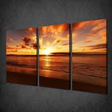 tropical sunset sea skyline 3 panels canvas print picture wall art free uk p p