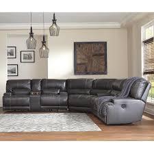 3 piece gray leather reclining sofa