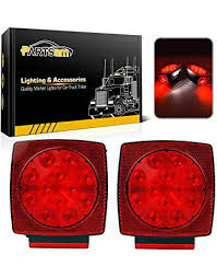 amazon com lighting trailer accessories automotive partsam 12v waterproof square led trailer light red led stop turn tail license brake running