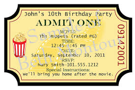 Movie Ticket Invitation Template. Printable Movie Ticket Invitations ...