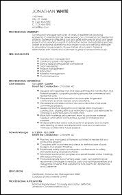 Free Professional Construction Resume Templates Resume Now
