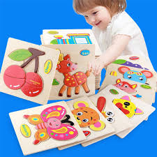 details about lovely wooden puzzle jigsaw cartoon baby kids educational learning tool toy diy