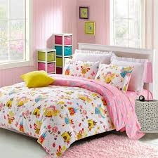 yellow red pink blue and green colorful fairy print pastel style girls twin full queen size bedding sets