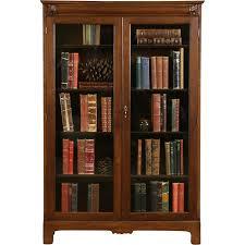 Oak Carved 1900 Antique 2 Door Bookcase, Wavy Glass, Adjustable Shelves
