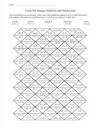 adding integers coloring worksheet sketch page solving equations activity pdf