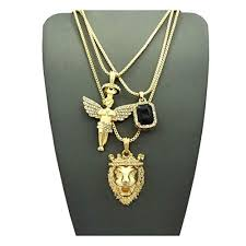 mens hip hop iced out angel lion red ruby onyx blue green pendant 3 chain necklace