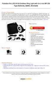 Cordless Ring Light Fotodiox Pro Led 411 A Cordless Ring Light With 2x Li Ion Np