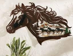 western 3d metal wall art rustic gallop cowboy wild horse