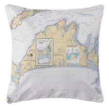 Marthas Vineyard Nautical Chart Pillow