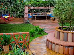 chic greenery patio with sleek wooden walkway design plus colorful outdoor seating area interior