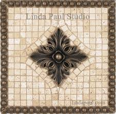 12 X 12 Decorative Tiles Metal and Stone Backsplash Mosaic Tile Medallion 2