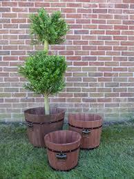 outdoor garden planters. A Set Of 3 Wooden Barrel Indoor/Outdoor Garden Planters Outdoor 2