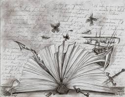 an open book with es in fancy script from older books in the background and pictures from children s books seeping from the pages