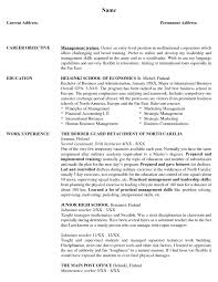 Resume Objectives For Management Positions 100 Sample Resumes With