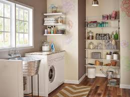 ... Add Shelving To Unused Corners Wooden Floor White Wooden Racks Glass  Windows Round Metal Sink Utility ...