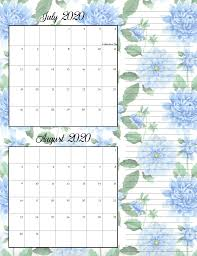 August Theme Calendar Free Printable 2020 Bimonthly Calendars With Holidays 2 Designs