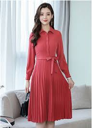 Dinner Dress Design Us 31 49 19 Off 2018 New Fashion Quality Design Red Slim Dresses Girls Casual Spring Pleated Elegant Dress Women Dinner Sleeve Size M L Xl A146 In