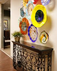 eclectric hallway and landing sculptures stunning colorful flowers abstract viz glass wall art combination wooden and