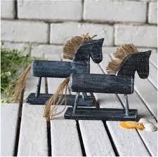 z style wooden horse vintage cute pony figurines for home decoration gift ne