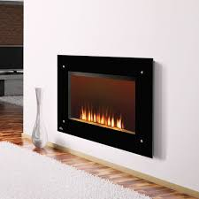 electric modern napoleon fireplace plus stolve and black frame in white wall plus wooden floor for