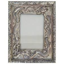 japanese silver plated picture frame embellished with dragons circa 1930 for