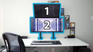 stacked dual monitors using vivo arm mounts