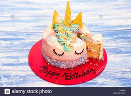 Childrens Party Unicorn Birthday Cake Stock Photo 243611682 Alamy