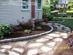 Front Yard Landscape Construction Project with garden path stone walkway  edging and plants.